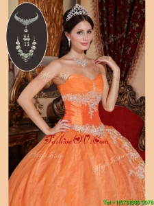 Exquisite Orange Red Sweet Sixteen Dresses with Beading and Appliques
