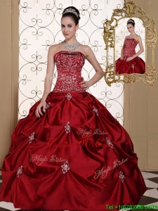 Hot Sale Pick Ups Strapless Sweet Sixteen Dresses in Wine Red
