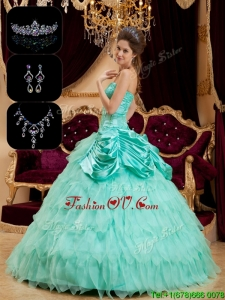 Luxurious Strapless Sweet Sixteen Dresses with Pick Ups and Ruffles