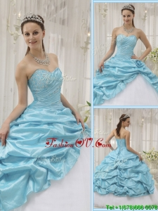 Perfect Beading Sweetheart Sweet Sixteen Dresses in Aqua Blue