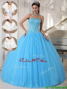 Romantic Beading Ball Gown Floor Length Sweet Sixteen Dresses