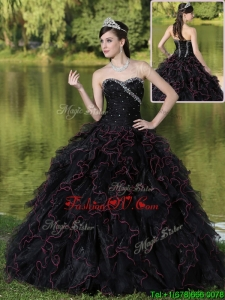 Fashionable Ruffles Layered and Beading Sweet Sixteen Dresses in Black
