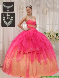 Unique Ball Gown Strapless Quinceanera Dresses with Beading