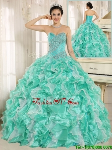 Unique Beading and Ruffles Apple Green Quinceanera Dresses