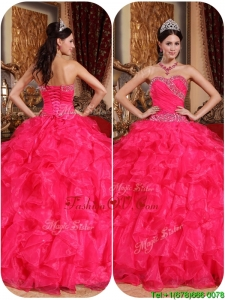 Unique Coral Red Ball Gown Quinceanera Dresses with Beading