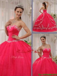 Unique Coral Red Quinceanera Dresses with Appliques