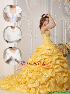 Unique Court Train Quinceanera Dresses with Pick Ups and Appliques