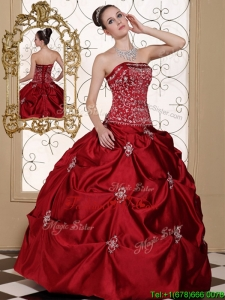 Unique Embroidery Wine Red Strapless Quinceanera Dresses