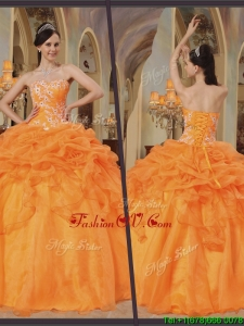 Unique Orange Red Ball Gown Floor Length Quinceanera Dresses