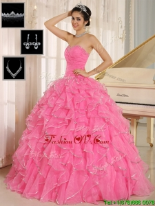 Unique Rose Pink Quinceanera Dresses with Ruffles and Beading