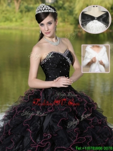 Unique Ruffles Layered and Beading Quinceanera Dresses in Black