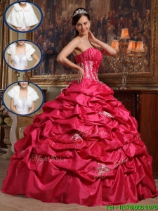 UniqueCoral Red Strapless Quinceanera Dresses with Appliques
