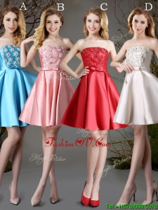 2017 New Arrivals Strapless Satin Short Prom Dress with Appliques and Bowknot