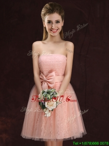 2017 Romantic Strapless Bowknot Pink Prom Dress in Lace and Tulle