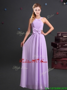 2017 Simple Empire Halter Top Chiffon Long Prom Dress in Lavender