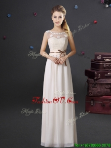 Classical See Through Scoop Laced and Belted Prom Dress with Appliques