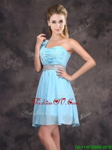 Fashionable One Shoulder Sequined Prom Dress in Baby Blue