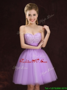 Top Seller Sweetheart Lilac Prom Dress with Lace and Ruching