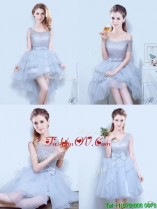 2017 Gorgeous Organza Grey Prom Dress with Lace and Bowknot
