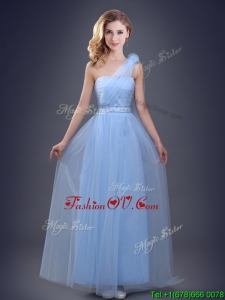 Cute One Shoulder Beaded Prom Dress with Hand Made Flower