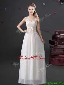 New Arrivals V Neck Laced Prom Dress with Appliques and Bowknot