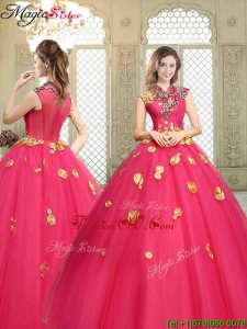 Beautiful High Neck Cap Sleeves Prom Dresses with Appliques
