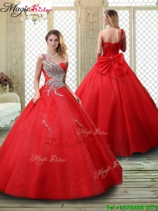 Classical One Shoulder Prom Dresses with Beading in Red