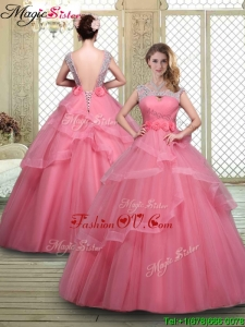 Elegant Backless Prom Dresses with Beading and Hand Made Flowers