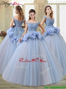 Luxurious Bateau Lavender Quinceanera Gowns with Hand Made Flowers