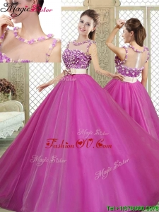 2016 Modern Scoop Sweet 16 Dresses with Belt and Appliques