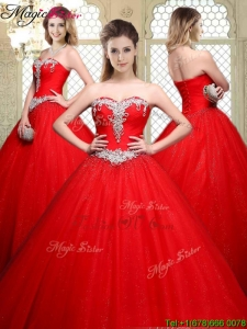 Popular Sweetheart Beading Quinceanera Gowns with Brush Train