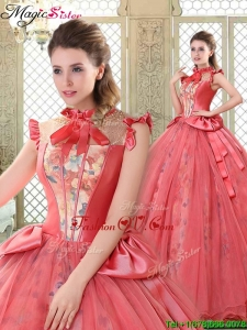 New style High Neck Cap Sleeves Quinceanera Gowns with Bowknot