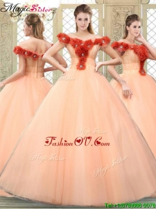 New style Off the Shoulder Quinceanera Dresses with Hand Made Flowers