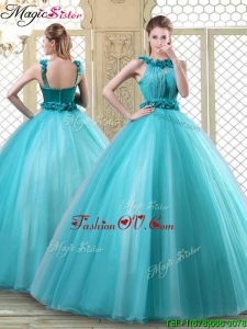 Pretty Bateau Quinceanera Dresses with Ruffles in Teal for 2016