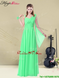 2016 Elegant Straps Floor Length Bridesmaid Dresses with Ruching and Belt for Summer