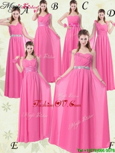 2016 Fashionable Empire Ruching Bridesmaid Dresses for Rose Pink