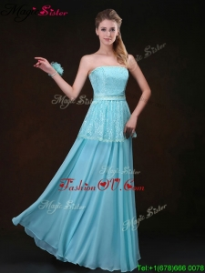 2016 Affordable Strapless Floor Length Bridesmaid Dresses in Aqua Blue