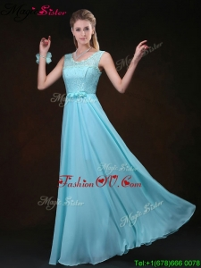 2016 Sweet Scoop Lace Dama Dresses with Lace