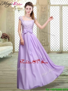Fashionable Square Cap Sleeves Lavender 2016 Dama Dresses with Belt