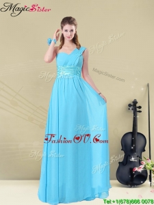 Latest Floor-length One Shoulder Bridesmaid Dresses with Belt