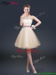 Beautiful Scoop Prom Dresses with Appliques and Belt