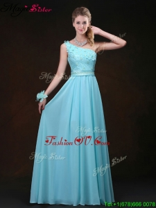 Inexpensive Empire One Shoulder 2016 Prom Dresses with Appliques