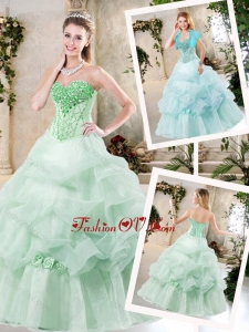 2016 Cheap A Line Quinceanera Dresses with Hand Made Flowers