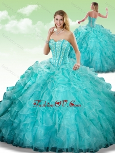 2016 Gorgeous Sweetheart Beading Turquoise Quinceanera Dresses in Turquoise