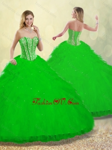 2016 Pretty Ruffles and Beading Detachable Quinceanera Dresses