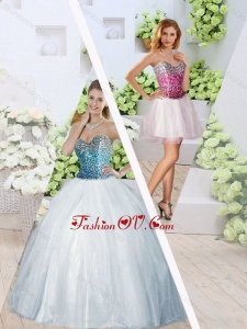 2016 Romantic Sweetheart High Slit Detachable Quinceanera Dresses