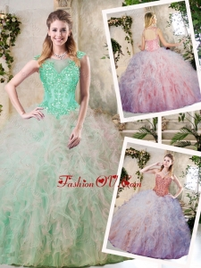 Classical Appliques and Ruffles Quinceanera Dresses in Multi Color