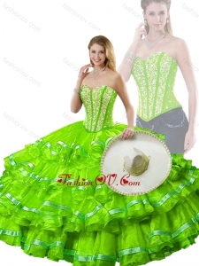 Hot Sale Spring Green Detachable Quinceanera Dresses with Beading and Ruffled Layers