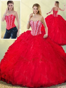Latest Sweetheart Beading Quinceanera Dresses with Ruffles