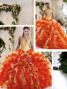 Pretty Multi Color Quinceanera Dresses with Beading and Ruffles